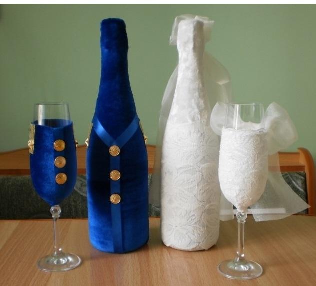 Свадебные бутылки своими руками синие